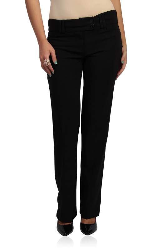 Black Dress Pants with Faux Pocket Detail — Buy Black Dress Pants ...