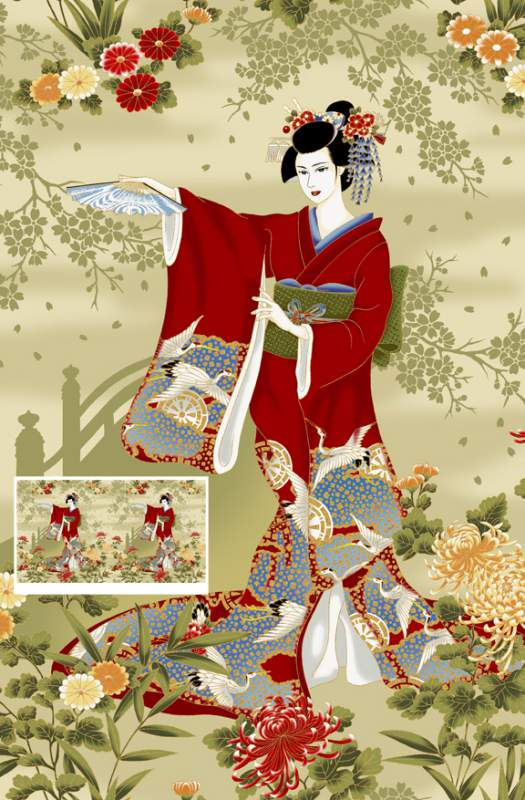 Buy HANA-01-Cream Geishas Fabric