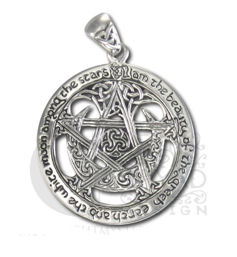 Buy TPD140 Sterling Silver Extra large Cut Out Moon Pentacle Pendant