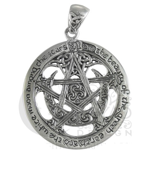 Buy TPD208 Sterling Silver Extra Large Cut Out Tree Pentacle Pendant