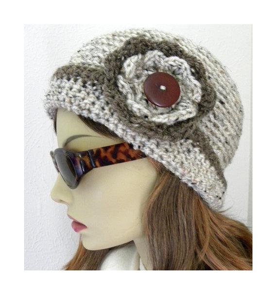 Buy Tan Tweed Flower Cloche Hat