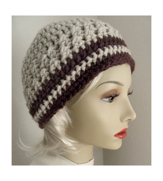 Buy Tan With Brown stripes Cute Beanie crocheted hat