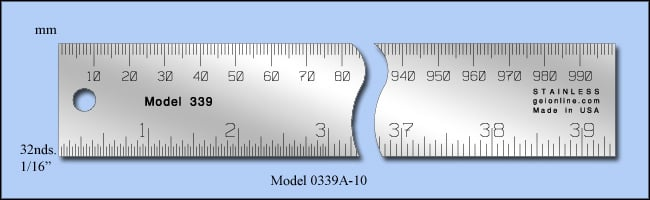 "General Purpose Stainless Steel Ruler, Inch & Metric 1/16"", 1/32"", Mm - Meter Stick 1m Length - Model 0339a-10"