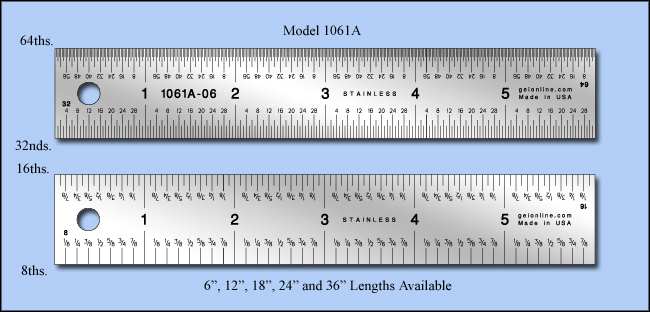 """General Purpose Stainless Steel Rulers , Inch 1/8"""", 1/16"""", 1/32"""",1/64"""" - 6"""", 12"""", 18"""", 24"""" & 36"""" Lengths - Model 1061a"""