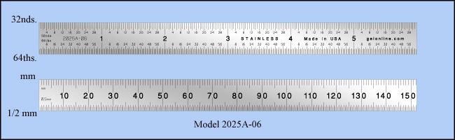 "General Purpose Stainless Steel Ruler, Inch & Metric 1/32"", 1/64"", Mm, 1/2mm - 6"" Length - Model 2025a-06"