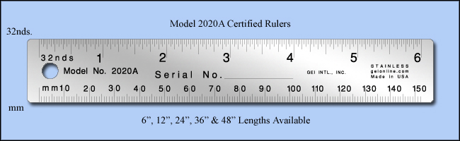 "Certified Stainless Steel Rulers, Inch & Metric 1/32"", Mm - 6"", 12"", 24"", 36"" & 48"" Lengths - Model 2020a"