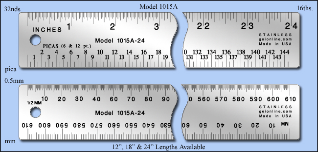 "Printers & Graphic Art Stainless Steel Ruler, Inch & Metric 1/16"", 1/32"", Mm, 0.5mm, Pica - 12"", 18"" & 24"" Lengths - Model 1015a"