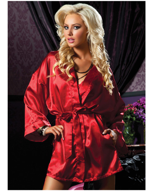 Buy Hanging Satin Mid Thigh Length Robe w/Side Pockets & Sash Red S/