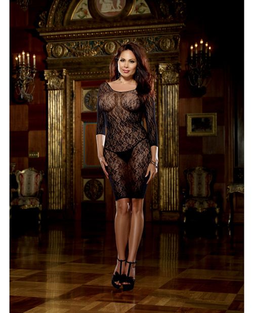 Buy Fishnet Stretch Lace Long Sleeve Gown & Matching GString Black Q