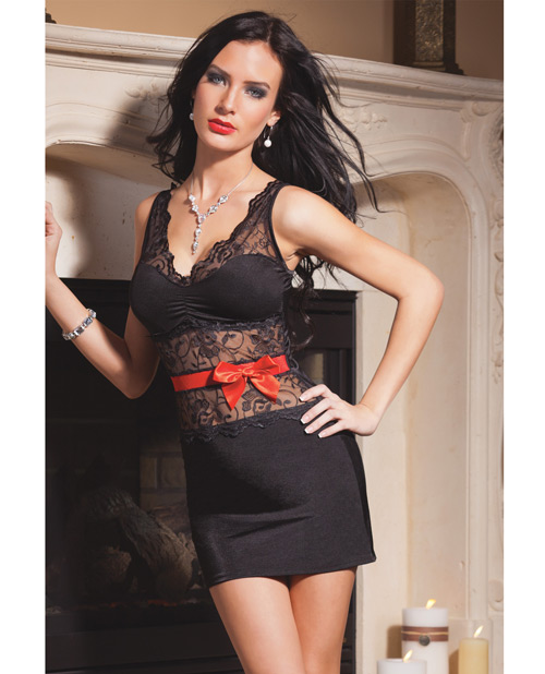 Lycra Dress w/Scalloped Lace & Removable Bow Black MD