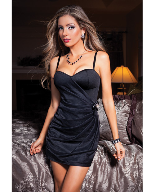 Buy Lycra Dress w/Sheer Nylon Pleated Overlay Black SM