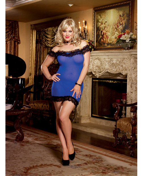 Buy Off the Shoulder Stretch Mesh Chemise & G-String Sapphire QN