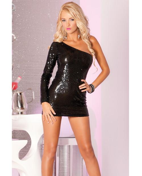 Buy Pink Lipstick Glitterati Sequin Dress Black M/L
