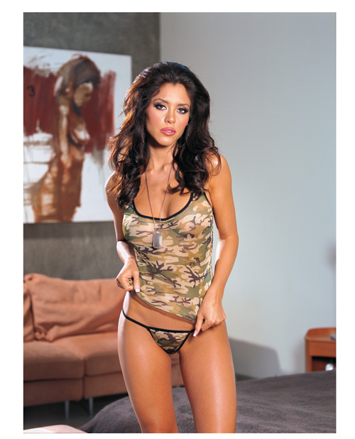 Buy Camouflage Print Lycra Net Cami & Thong O/S
