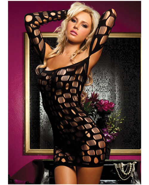 Buy Long Sleeve Seamless Stretchy Dress w/Oval & Round Net Cutouts