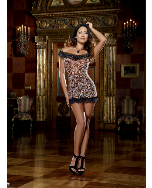 Buy Leopard Print Stretch Mesh Chemise & Thong Leopard O/S