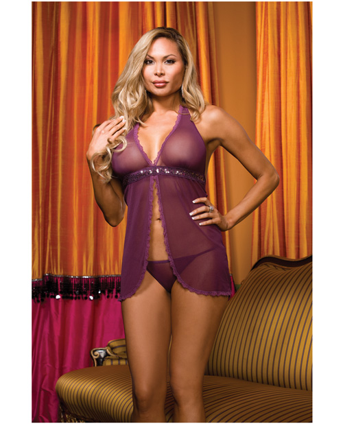 Buy Diamond Seduction Sheer Mesh Babydoll & Thong Purple QN