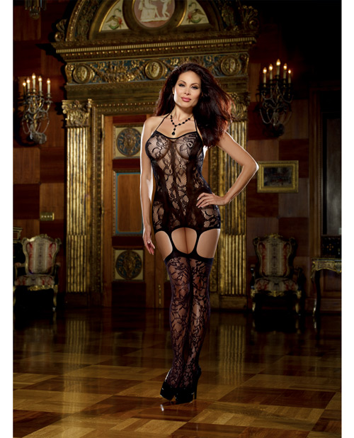 Buy Lace Fishnet Halter Garter Dress w/Opaque Bodice Lines