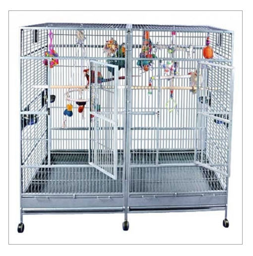 """Buy Double Macaw Cage in Stainless Steel 80""""x40"""""""