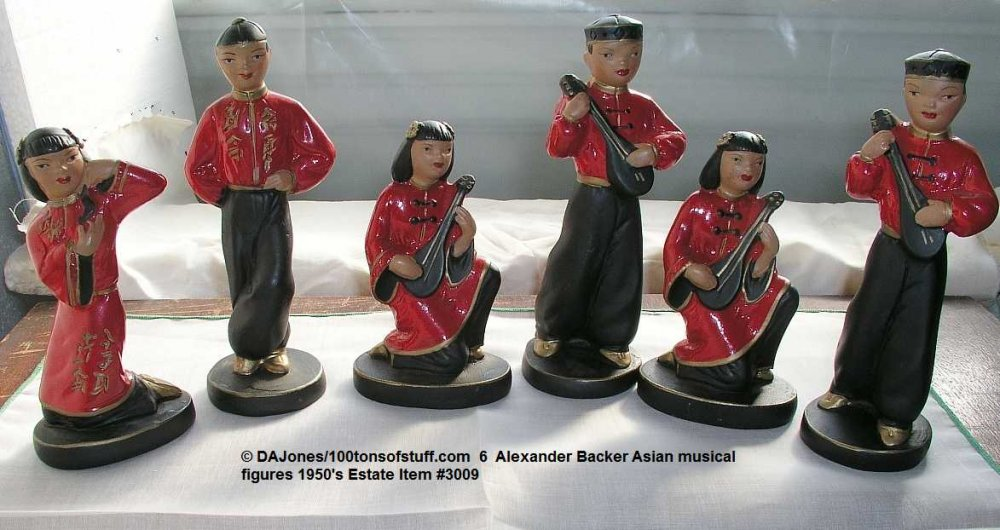 Buy 6 Alexander Baxter chalkware Asian musicians in red & black hand painted Ex Cond
