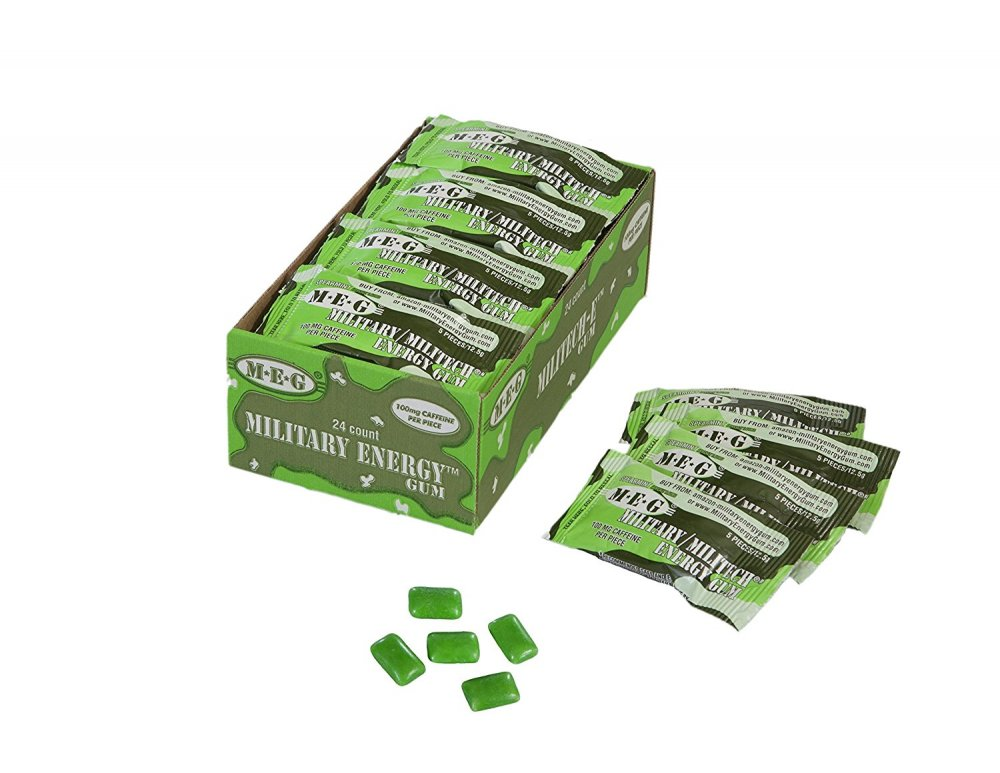 Buy Military Energy Gum (MEG) - Spearmint - Tray (24 packs - 5pcs/pk) 100mg caffeine/pc - Military Specification Formula