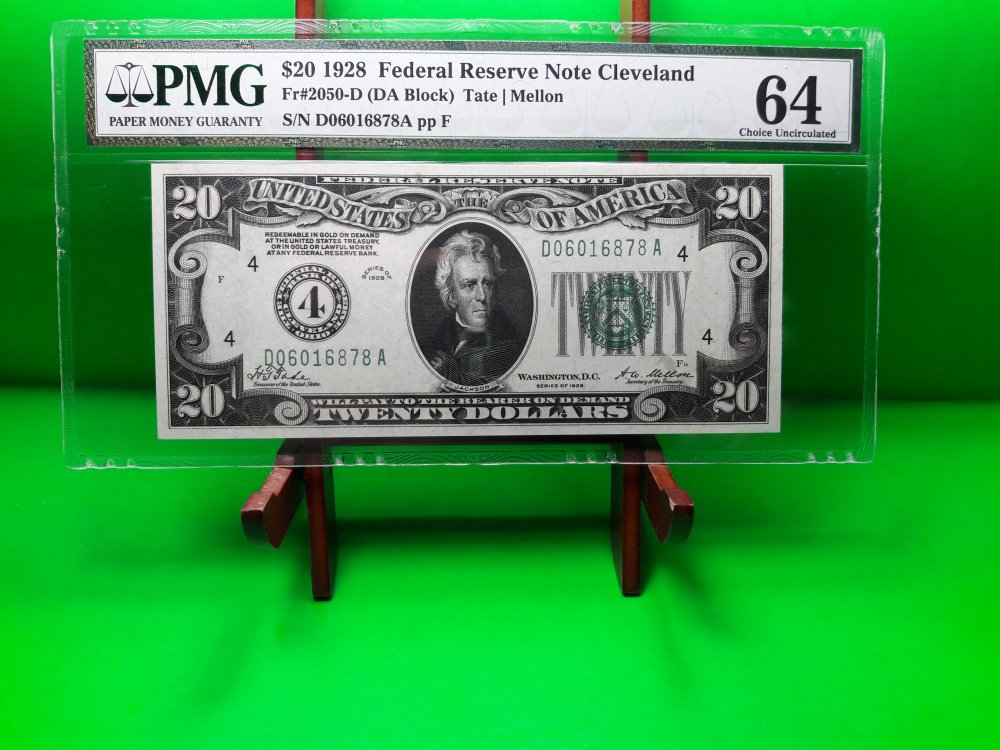 Buy MONEY USA $20 1928 FEDERAL RESERVE NOTE CLEVELAND PMG UNC FR #2050 D