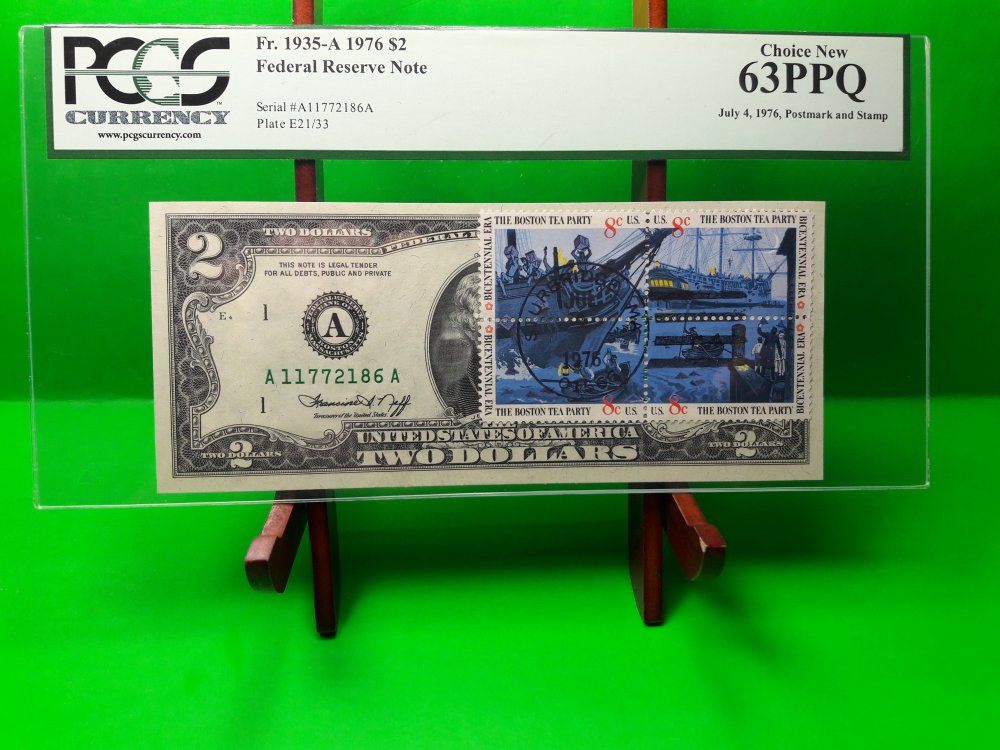 Buy MONEY USA $2 1976 FEDERAL RESERVE NOTE BOSTON PMG UNC BOSTON TEA PARTY
