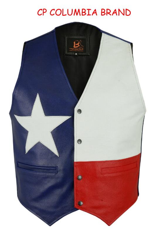 Buy New Texas Flag Color Leather Vests 2018 Stock All Sizes Hi Quality Cp Brand