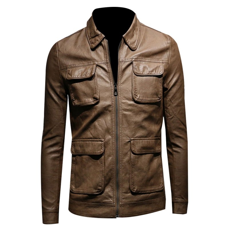 SLIM FIT MULTI POCKET BROWN BIKER JACKET