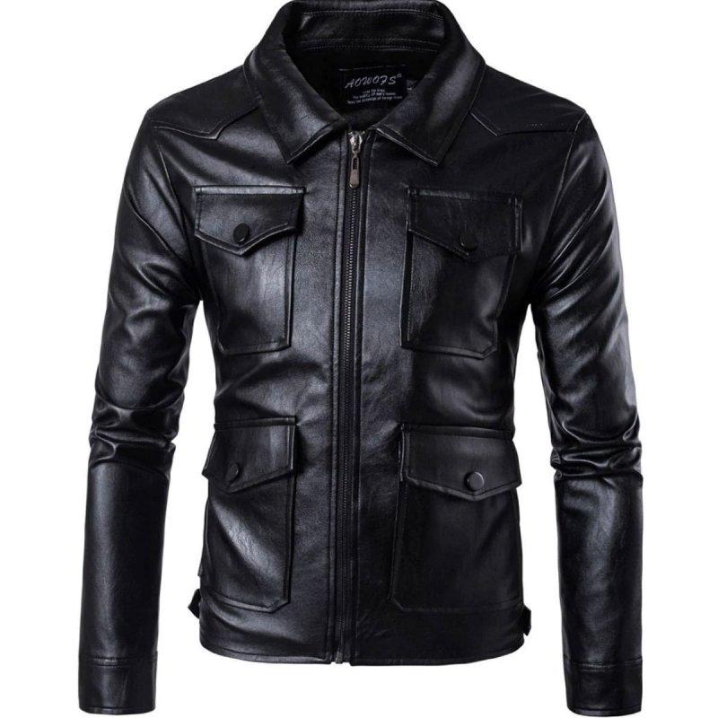 Buy SLIM FIT MULTI POCKET BLACK LEATHER JACKET