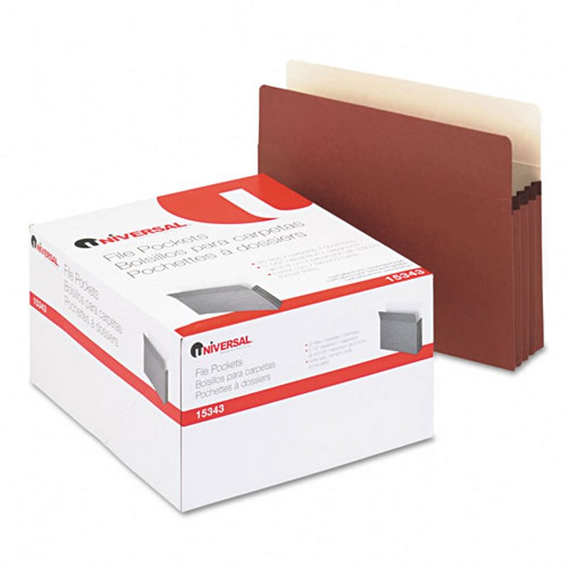 "Buy 3 1/2"" Expansion File Pockets, Straight, Redrope/Manila"