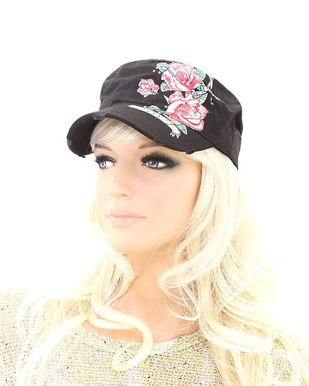 Buy LADIES FASHION LOVE FLOWER MILITARY STYLE CAP