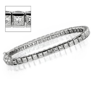 Buy Semi-Bezel Set Round Diamond Straight Line Eternity Bracelet