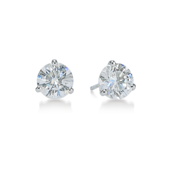 "Buy Three-Prong Round Diamond ""Martini"" Stud Earrings"