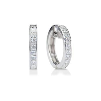 Buy Channel-Set Princess Cut Diamond Hoop Earrings