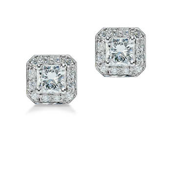 Buy Square Radiant Cut Diamond Stud Earrings with Pave-Set Diamond Border