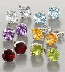 6-Piece Set Genuine Gemstone Sterling Silver