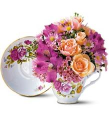 Pink Roses Teacup Bouquet TF111-1