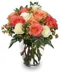 Peach & White Roses Bouquet