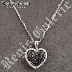 Black & White Diamond Necklace 18K White Gold