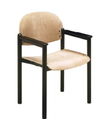 Arm chair with wood seat and back