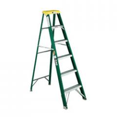 Fiberglass Commercial Stepladder, Six-Foot