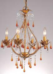 Josephine Mini Chandelier French Gold with Amber