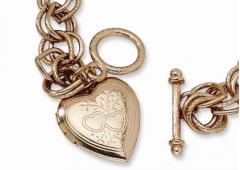Rose Tone Heart Locket Bracelet