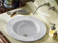 Water Lilies™ design on drop-in bathroom sink