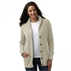 Women's Cotton Shaker Shawl Collar Cardigan Sweater