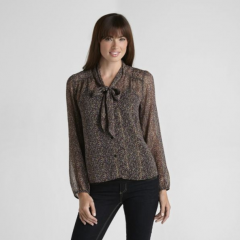 Jaclyn Smith Women's Floral Tie-Front Blouse