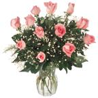 Dozen Premium Pink Roses Arranged