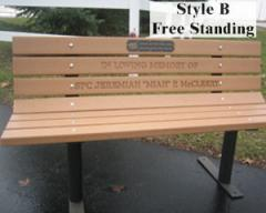 Park Bench (Free Standing w/ Recycled Plastic