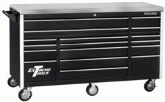 "72"" 17 Drawer Roller Cabinet - Black"